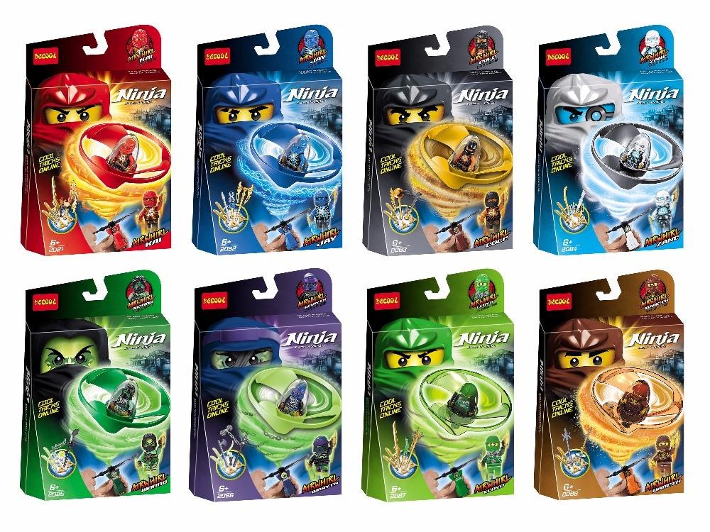DECOOL Spinning Mini man Ninja Zane Cole Jay Nya Kai Action Figures Building Toys gifts FIT LEGO LEPIN minifigure LPS Ninjagoes