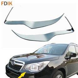 2 sztuk Chrome z przodu głowy światła pokrywa odlewnictwo wykończenia reflektorów brwi powieki dla Subaru Forester 2013 2014 2015