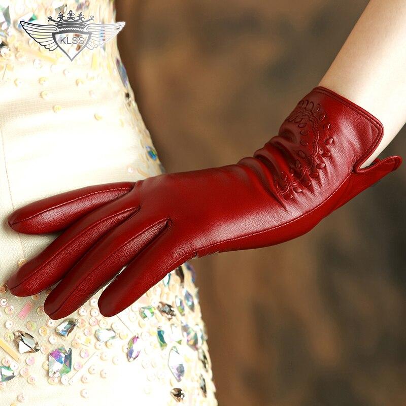 KLSS Brand Genuine Leather Women Gloves High Quality Goatskin Gloves Winter Plus Velvet Elegant Lady Sheepskin