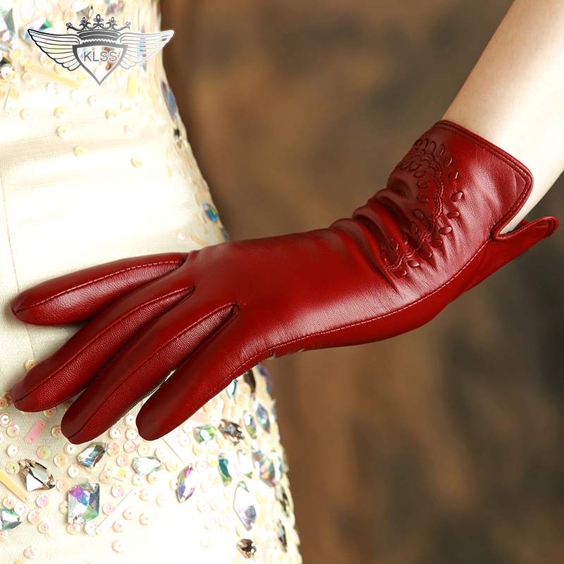 KLSS Brand Genuine Leather Women <font><b>Gloves</b></font> High Quality Goatskin <font><b>Gloves</b></font> Autumn Winter Elegant Sheepskin <font><b>Gloves</b></font> Female 2303