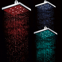Freeshipping 1PCS LOT Good Qulitity LED Square Rain Shower Head Bathroom Bath Tempertaure Control With 3