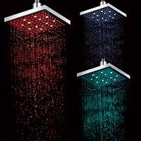 Freeshipping 1PCS LOT Good Qulitity LED Square Rain Shower Head Bathroom Bath Tempertaure Control With 3