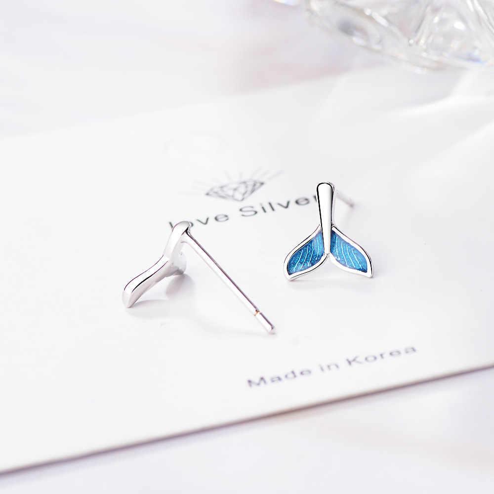 เงินปลาสตั๊ดต่างหูผู้หญิง Ocean Blue สีเกาหลีเครื่องประดับน่ารักเล็ก Bohemian ต่างหูของขวัญ