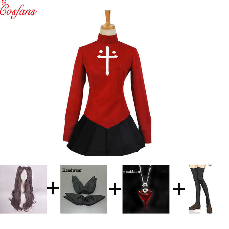Nieuwe Rin tohsaka cosplay Halloween vrouwen Cosplay Kostuum Fate/Stay Night Rin Tohsaka Uniform Jurk Cos Anime Tops rokken pruiken set