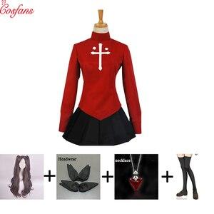 Nuevo disfraz de cosplay de Rin tohsaka, disfraz de Halloween para mujer, disfraz de Fate/Stay Night Rin Tohsaka, uniforme, vestido Cosplay de Anime, Tops, faldas, juego de peluca