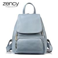 Zency Summer Light Blue Female Backpack 100% Genuine Leather Knapsack Women Fashion Casual Travel Bags Convenient Schoolbasgs