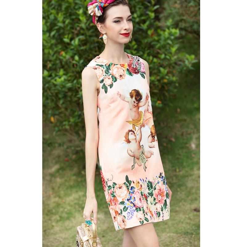 De Imprimé Rose Cristal Piste Mode Femmes Haute Bébé Manches Ange Designer Floral Qualité Casual D'été Robe Sans qwUB67Eax