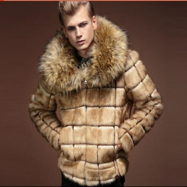 New Winter men Luxury fur coat male fur turn-down collar plaid design fashion mens coat fox fur collar jaqueta de couro overcoat