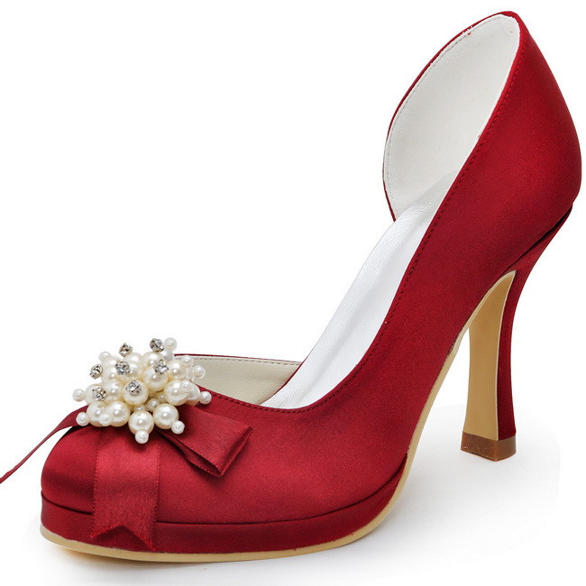 Women Pumps Wedding Bridal shoes High heels 100114-PF Burgundy 41 Round Toe Platform Pearls Rhinestone Satin Prom Dress Shoes hc1610 burgundy women bride bridesmaids dress court pumps pointed toe d orsay stiletto heels buckle satin wedding bridal shoes