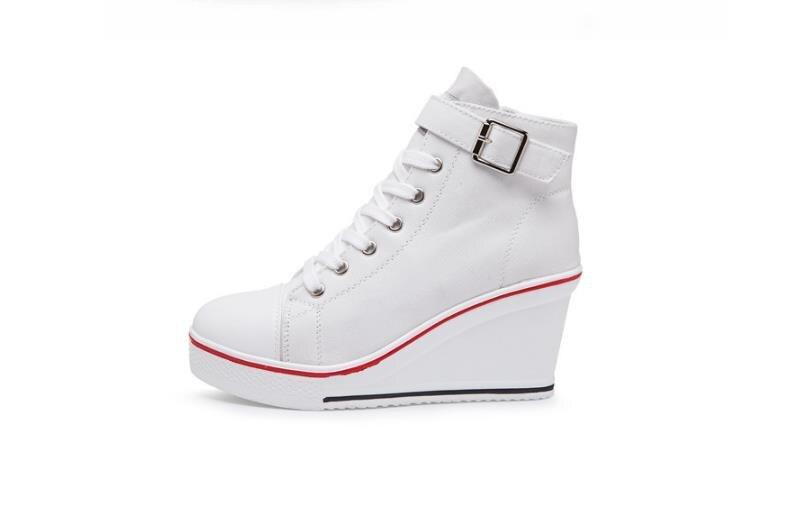 Alta Cuña Zapatos Esponja Verano Estudiantes rosado 18 Lona rojo A Para Primavera Negro Mujeres 8 Aumentar Cm Pastel Otoño De Ayudar Casual Y 0n0UA6FW
