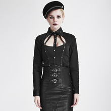 Steam Punk Women's Cosplay Sexy Shirts Black Metal Pu Leather Hollow Out Shirts
