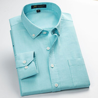 2016 New Arrival Men Oxford Shirts Long Sleeve Male Dress Shirt Solid Color Man Casual Business