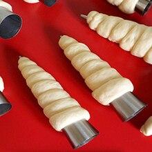 Najnowszy! 5 sztuk/partia stożki do pieczenia ze stali nierdzewnej Spiral Croissant rury róg chleb ciasto making ciasto formy do pieczenia dostaw