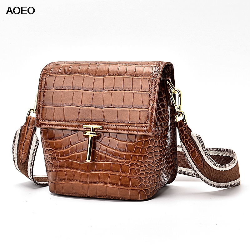 AOEO Genuine Leather Womens Shoulder Bag High Capacity Ladies Bucket Messenger Bags Free Two Strap Wide