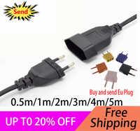EU Europäische 2 Prong Power Verlängerung Kabel Für EU Buchse Set (PVC) 0,5 m/1 m/2 m/3 m/4 m/5 m (H03VVH2-F 2X 0,75mm)