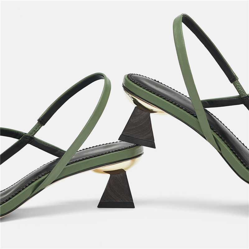 KATELVADI Women Sandals Open Toe Summer Shoes With 4CM High Heels Sandals Green PU Gladiator Spike Heel Shoes Woman K 370 in Middle Heels from Shoes
