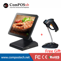 POS Computer Monitor 15 Inch LED Touch Screen Monitor Truth Flat Cash Register With Laser Barcode Scanner