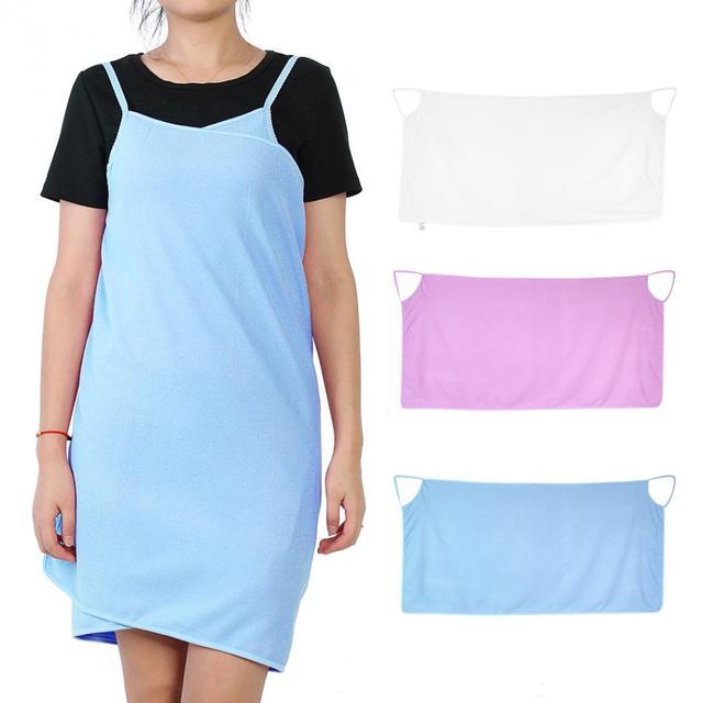 Shoulder Straps Wearable Women Dress Bath Towel Wrap Spa Beach in