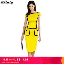 Oxiuly Elegant Blue Purple Yellow Short Sleeve Pencil Dress Fashion Lady  Wear to Work Knee Length Business Party Sheath Dress 2d584b76b