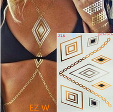 Gold And Silver Body Tattoos Flash Metallic Jewelry Tattoos And Silver Foil Tattoos, Body Art