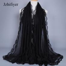 Jzhifiyer lace hem solid hijabs muslim mujer viscose soft material maxi plain scarf head wrap feminino bandana scarfs