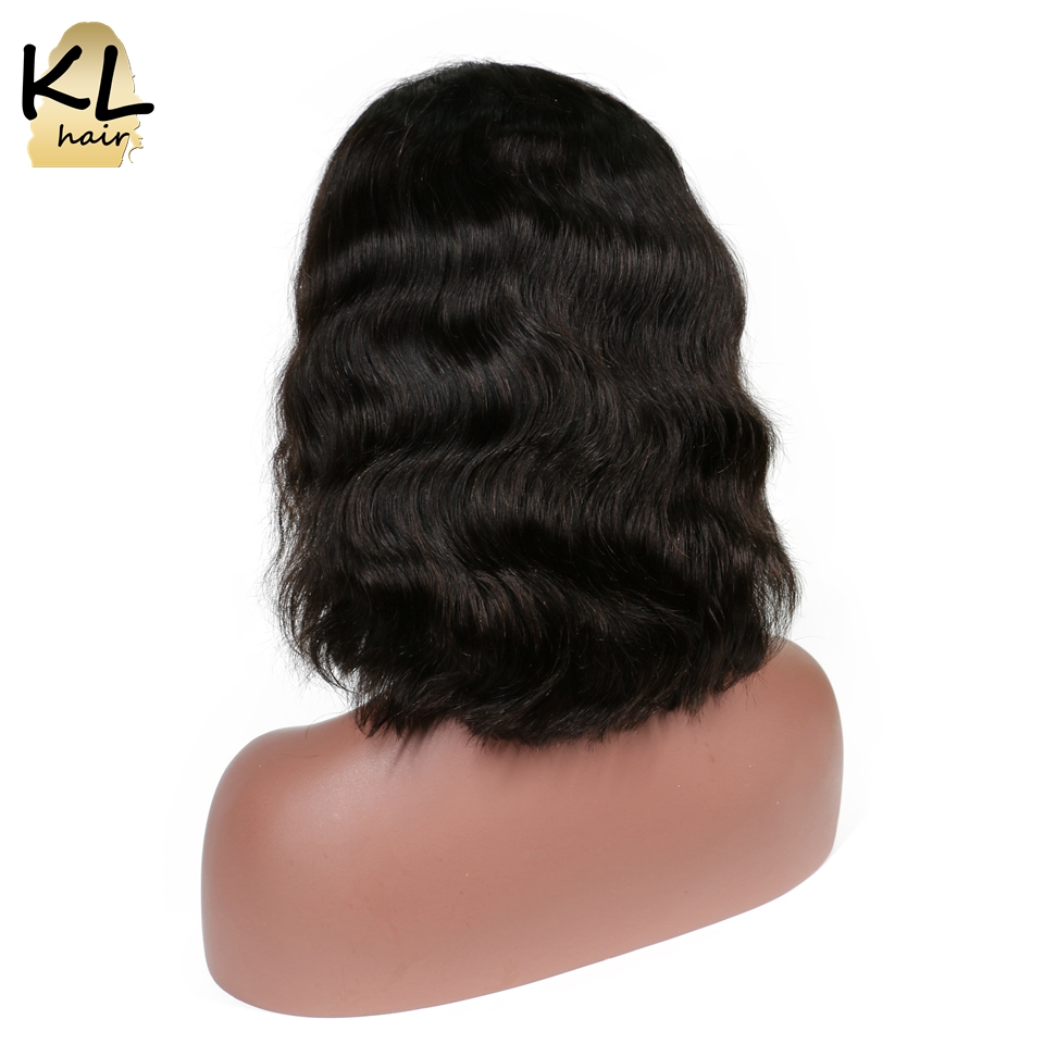"KL Hair Body Wave Full Lace Human Hair Short Bob Wigs 8""~14"" Natural Black Color 1B Brazilian Remy Hair Wigs For Black Women"