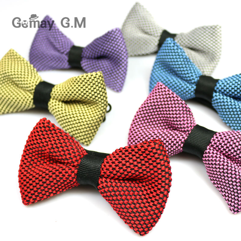 New Men Neck Knitted Bowtie single Mens Bow Tie Pre-Tied Adjustable Knit Bowtie for wedding