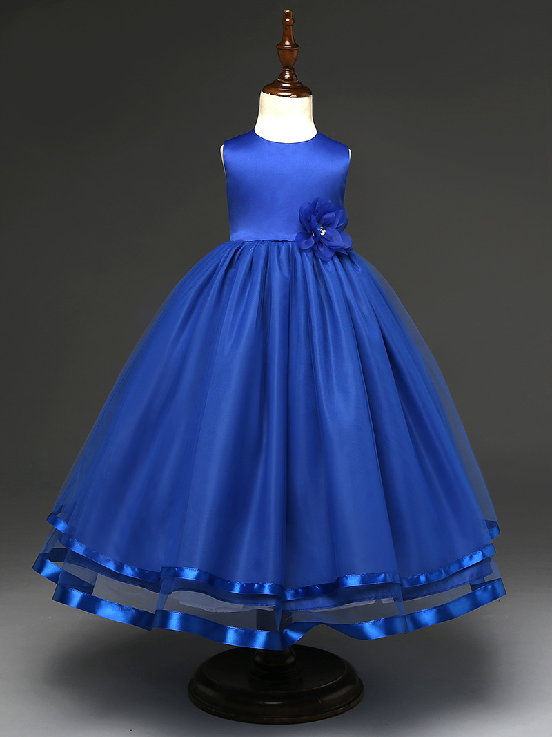 Vestido azul con blanco para nina