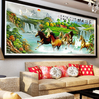 Landscape Full Diamond Mosaic Embroidery Crafts Eight Horses Diy 5d Diamond Painting Cross Stitch Unfinished Home