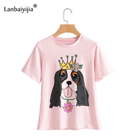 Lanbaiyijia Newest Cartoon T shirt Short Sleeve O neck Summer tees Women t shirt Crown Dog Print pink Casual shirt Women Top
