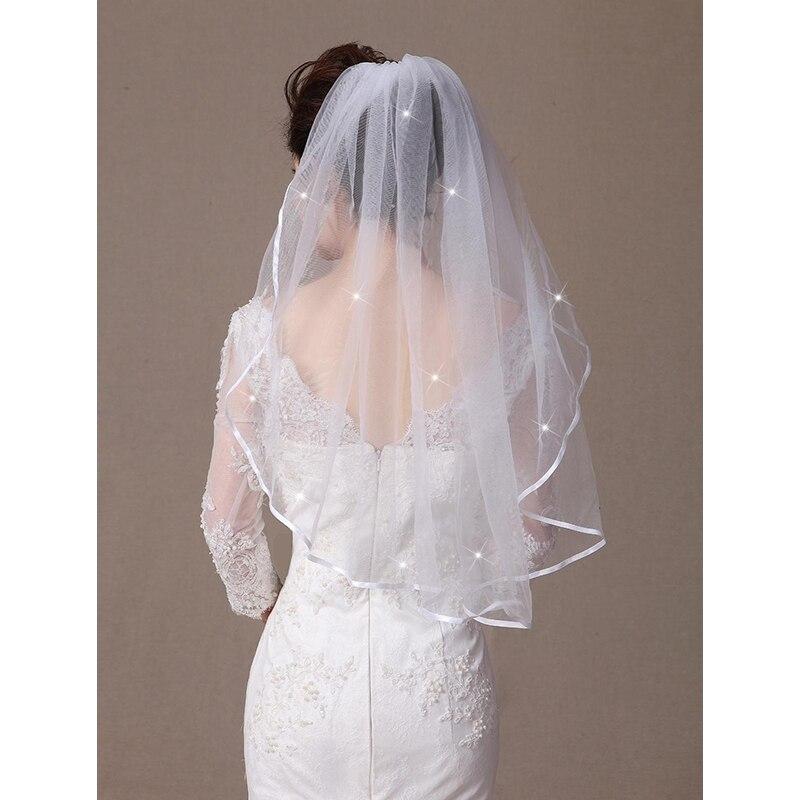 LAN TING BRIDE Uma Camada Borda com Tira Borda Enfeitada Vus de Noiva Vu Cotovelo Com Estilo de Critais Espalhad 31,5 cm (80cm)