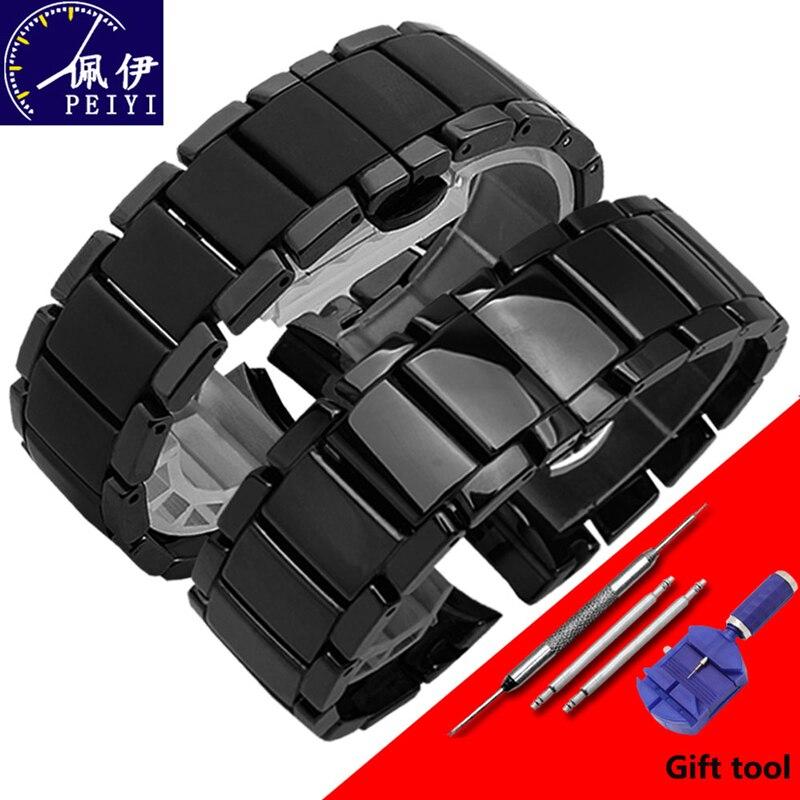 PEIYI poire chaîne de montre en céramique 22mm 24mm bracelet en céramique noir brillant et natte bracelet pour AR1451 1452