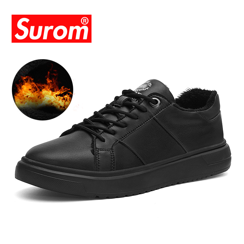 SUROM Band Leather Mens Shoes Casual Fashion 2018 Winter Plush Zapatos De Hombre Warm Sneakers Scarpe Uomo Lace Up Flats Black