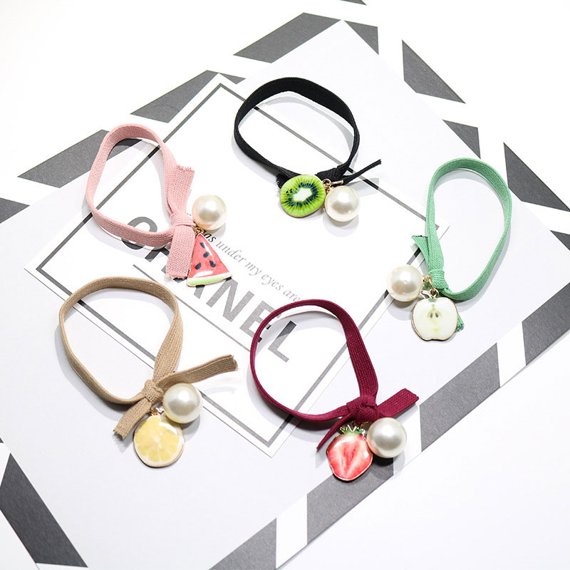 New 1PC Fashion Girls Cute Alloy Fruit Pearl Elastic Hair Band Ponytail Holder Women Hair Ornament Rubber Bands Hair Accessories m mism 2pcs new rhinestone bead hair elastic band hair accessories rubber tie gum ponytail holder scrunchy for women girls