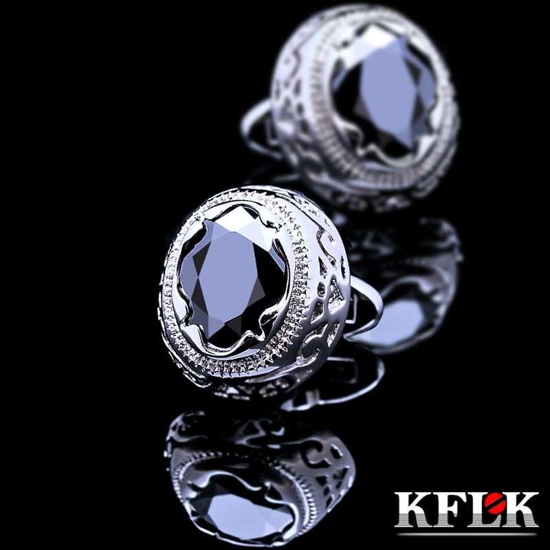 KFLK Jewelry Shirt Cufflink For Mens Brand Cuff Button Retro Cuff Link High Quality Black Abotoaduras Gemelos Free Shipping