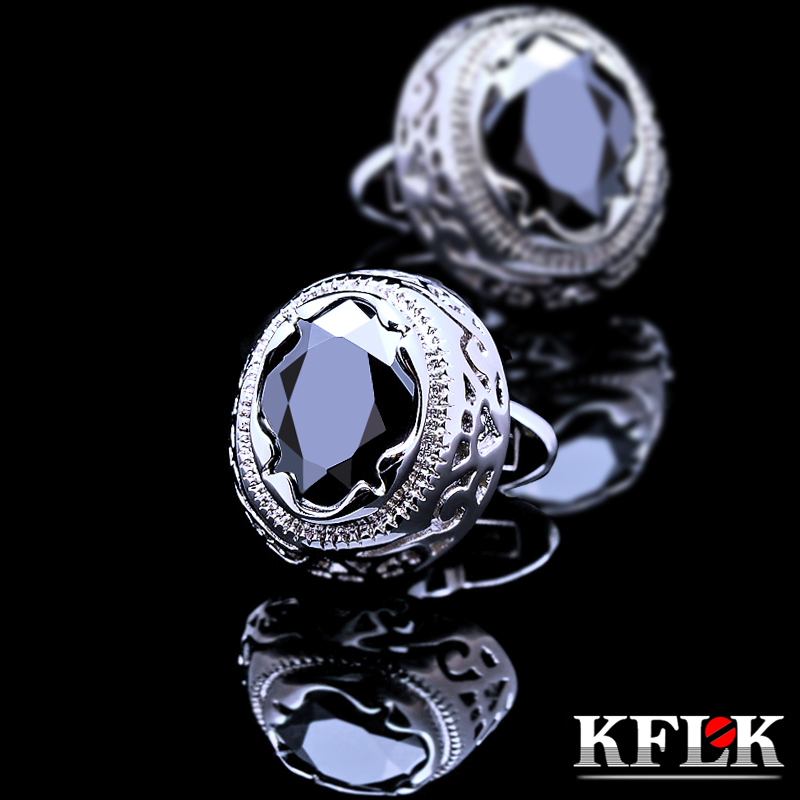 KFLK Jewelry shirt cufflink for mens Brand cuff button Retro cuff link High Quality Black abotoaduras gemelos Free Shipping