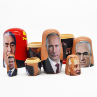 Russian linden doll set 5 floors hand painted 5 floors putin Lenin Stalin wood formaldehyde free creative