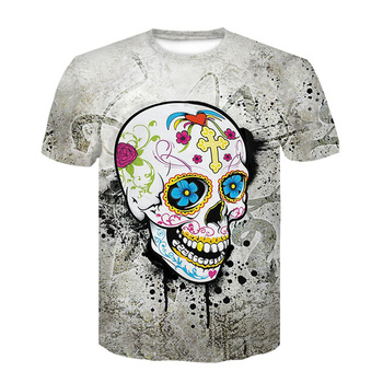 High Quality 2017 New Fashion Harajuku Women T-Shirt 3d Print The Skull Casual skull T Shirt Summer Plus Size 4XL Tops Tees