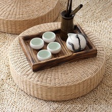 Hot 40cm*40cm Natural Straw Round Pouf Tatami Cushion Weave Handmade Pillow Floor Japanese Style with Silk Wadding home