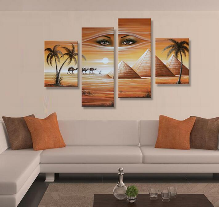 Home Goods Wall Art Canvas African Landscape Woman Face And Elphant 100 Handmade Oil Painting