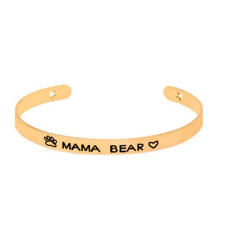 9 шт./лот Mama медведь манжеты Браслеты гравировкой положительный вдохновляющие цитаты ручной печатью мантра браслет для мамы день матери Под...