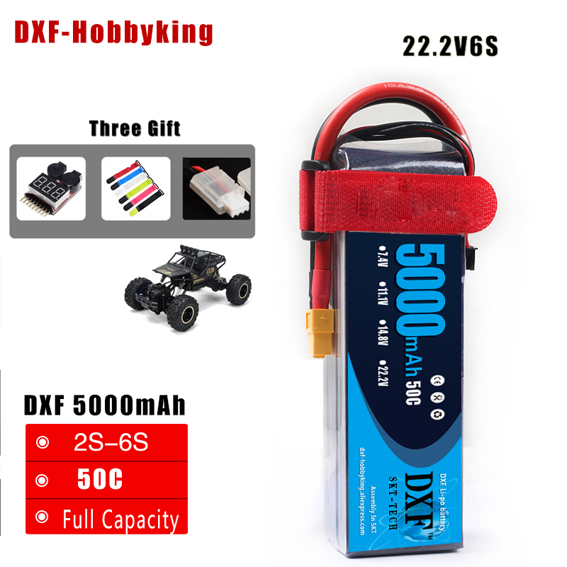 DXF RC Lipo Battery 22.2V 5000mah 50C 6S AKKU Batteria For RC Model Trex 500 Helicopter Traxxas Car Boat