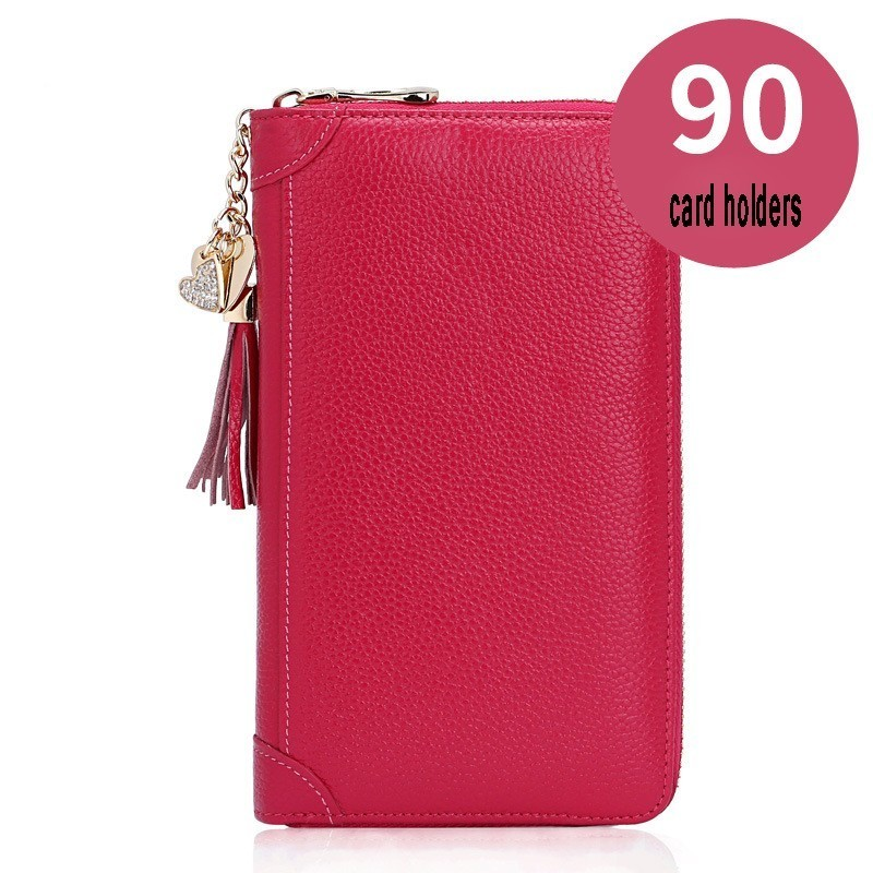 Women Bank Card Holder Genuine Leather Coin Purse Phone Wallet Card Holders For 60-90 Cards Passport Bag Carteira Feminina