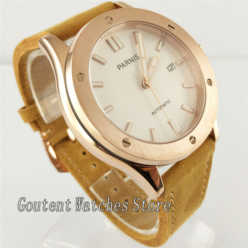Parnis 43mm White Dial Brown Leather Band Automatic Men Watch 2736
