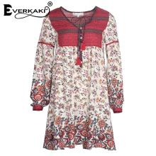 Everkaki Women Boho Floral Print Button Lace Up Mini Dress V Neck High Waist Lantern Sleeve Loose Dress Female Sundress 2018