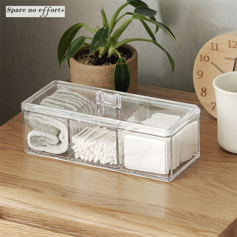 Cotton Swab Storage Box Cosmetic Organizer Acrylic Makeup Box Transparent Desktop Cover Cotton Jewelry Box Waterproof Casket
