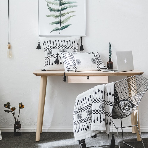 2018 New Black White Knit Blanket Casual sofa/air/ bedding Throw Blankets Same Design Knitted Plaids Pillow Case Cover