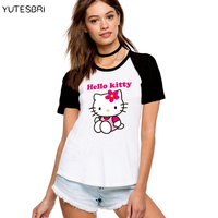 2016 słodkie zaprojektowany nakrywa trójniki kawaii hello kitty obraz kobiet t koszula harajuku dobrej jakości kobiety marka clothing dla dziewczyn