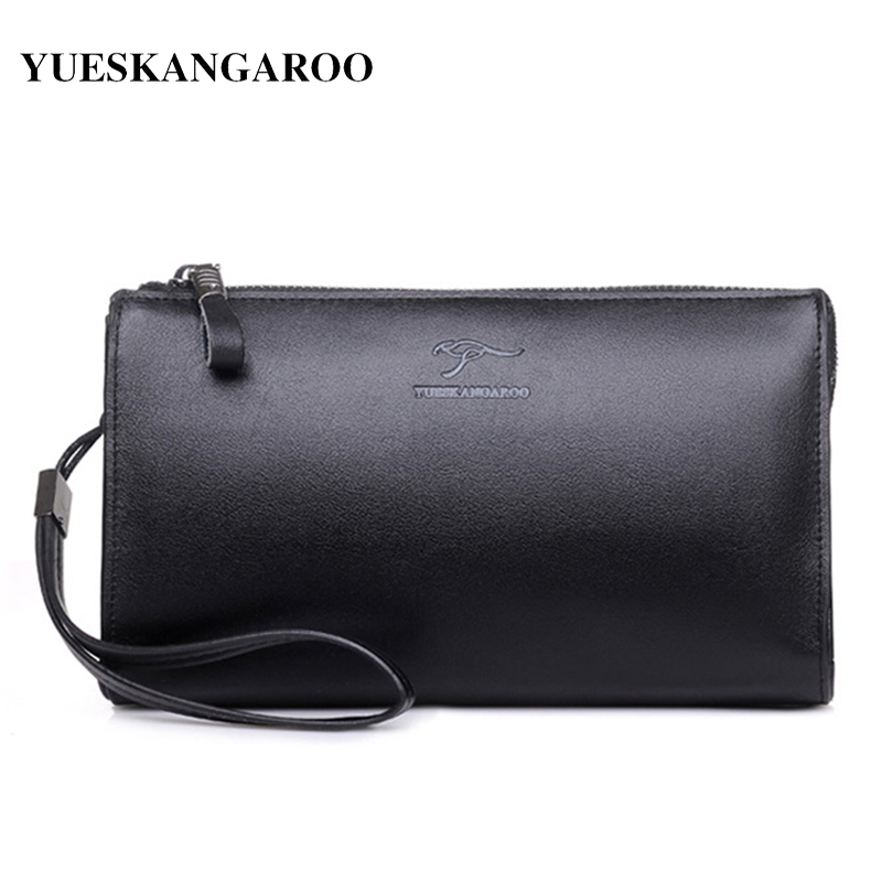 YUES KANGAROO Famous Brand Men Clutch Bags Genuine Leather Purse Cow Leather Business Long Phone Wallet Black Male Handy Bags brand design men luxury individuality vintage long wallet skull style genuine cow leather purse men s clutch handy phone bags