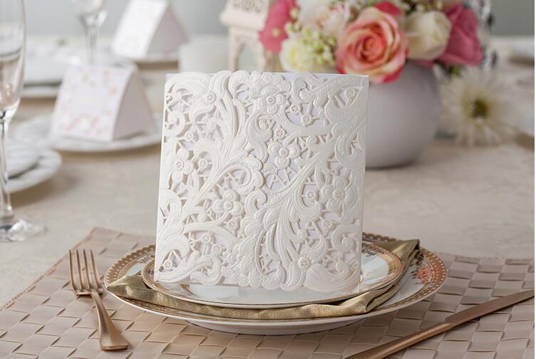 White Wedding Invitation With Ribbon